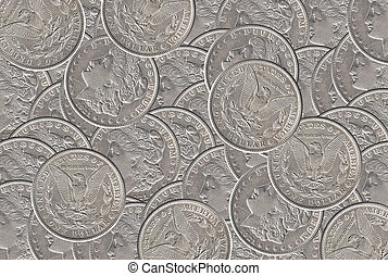 Silver dollar coins background