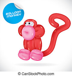 Glossy Monkey Illustration With Sticker