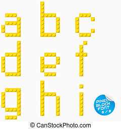 Pixel Block Alphabet - Vector Unique Pixel Block Alphabet...