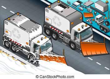 isometric Snow Plow Truck in Front View - Detailed...