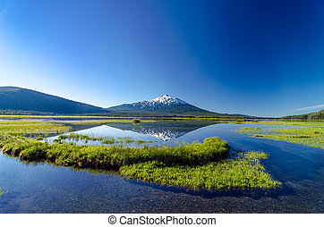 Mount Bachelor and Sparks Lake - A wide angle view of Mount...