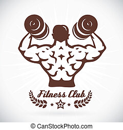 Bodybuilder Fitness Model Illustration With Brown Color