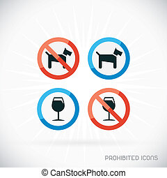 Prohibited Icons Illustration With Gray Background