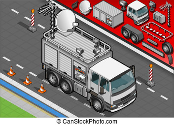 Isometric Broadcast TV Truck in Front View - Detailed...