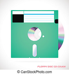 Old Fashion Floppy Disc With Compact Disc
