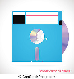 Old Fashion Floppy Disc With Compact Disc - Vector Realistic...