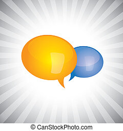 Concept vector- shiny, glossy chat symbols or speech bubble...