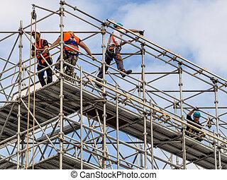 construcción, trabajador, andamio