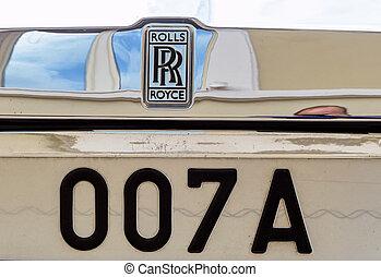 回転する, royce, 自動車, 紋章, シンボル,...