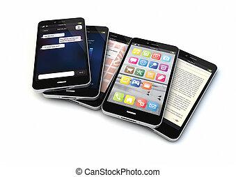 five smartphones - render of five smart phones with...