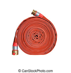 fire hose - firefighter hose isolated on the white...