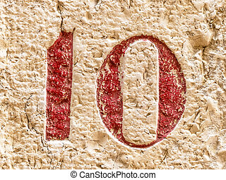 house number 10, symbol photo for binary and digitization