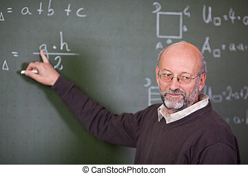 Teacher Teaching Mathematics While Pointing At Blackboard -...