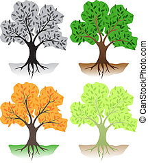 Trees - Deciduous trees in different colors