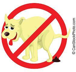 Dog poop sign - Cartoon dog poop sign