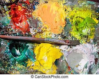 couleur, palette, Peintre, fond