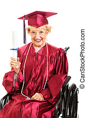 Never Too Old For Education - Sweet senior lady in...