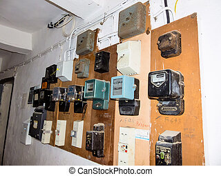 old electricity meter - many old electricity meter for...