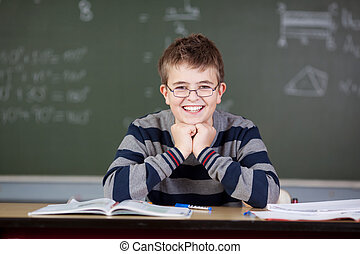 Student Sitting At Desk In Classroom