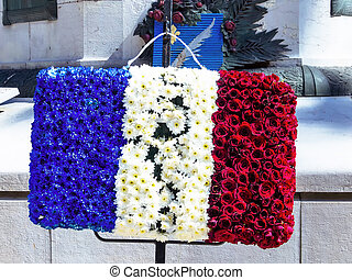 french flag made of flowers - the french national flag made...
