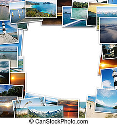 frame of travel photos on white background, with the scent...