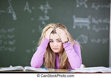 estudante, sob, tensão
