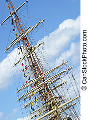 Tall Ship - The top of a tall ship docked in the harbor.
