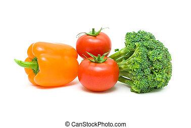 fresh vegetables close-up. white background.