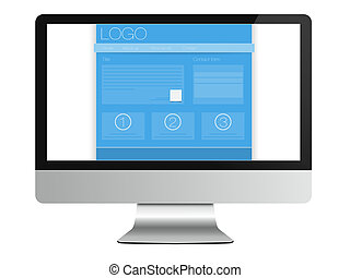 Web Site, Computer Monitor on white - An illustration about...
