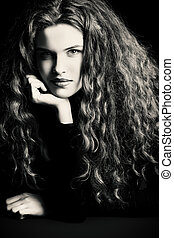 fashion model - Portrait of a charming fashion model with...