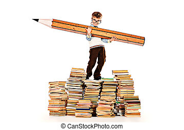 pile of books - A boy standing on a pile of books and...