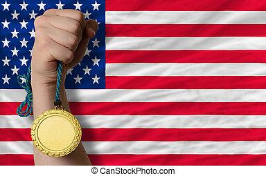 Gold medal for sport and national flag of america - Winner...