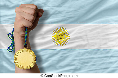 Gold medal for sport and national flag of argentina - Winner...