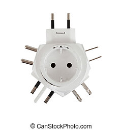 Five different power plugs in one, isolated on white...