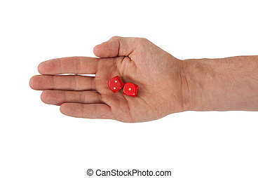 Hand holding red dices, isolated on white