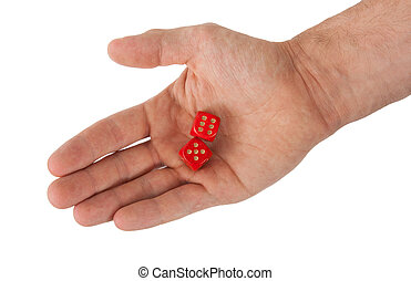 Hand holding red dices