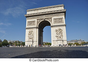 Arc de Triomphe in Paris. Tourist destination.