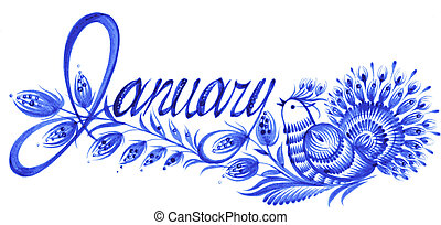 January the name of the month - name of the month, hand...