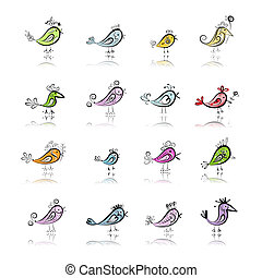Funny birds collection for your design