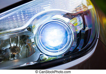xenon headlamp optics, close-up view