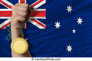 Gold medal for sport and national flag of australia - Winner...