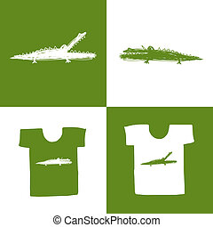 Crocodile sketch on white t-shirt for your design