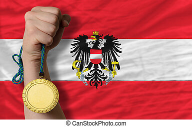 Gold medal for sport and national flag of austria - Winner...