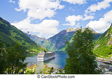 Cruise ship in Norwegian fjords - Cruise ship in Norwegian...