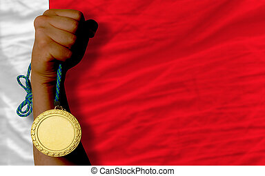 Gold medal for sport and national flag of bahrain - Winner...