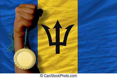 Gold medal for sport and national flag of barbados - Winner...