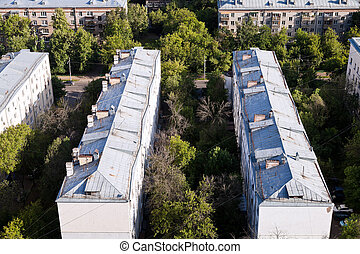 urban old houses - above view on old municipal houses in...