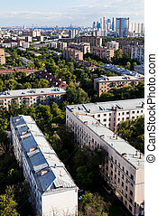 above view of city - above view of Moscow city in summer...