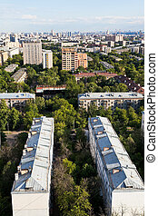 city districts in summer afternoon - Moscow city districts...