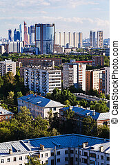 above view of different urban buildings - above view of...